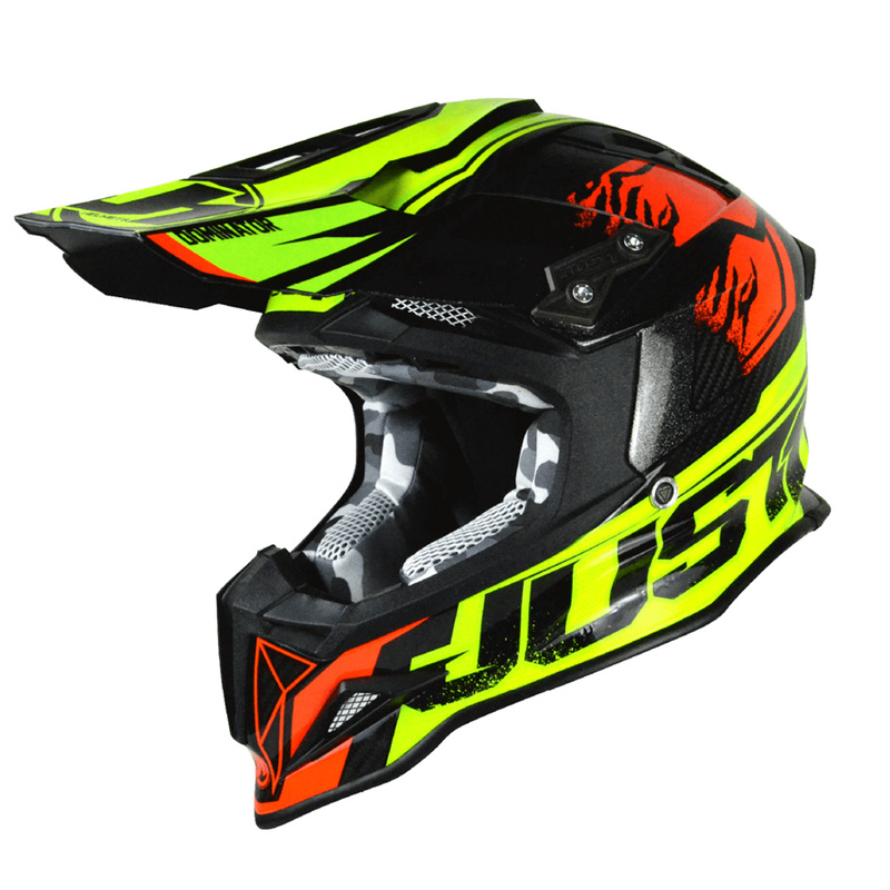 Casco Just1 J12 Dominator rojo/lima fluor