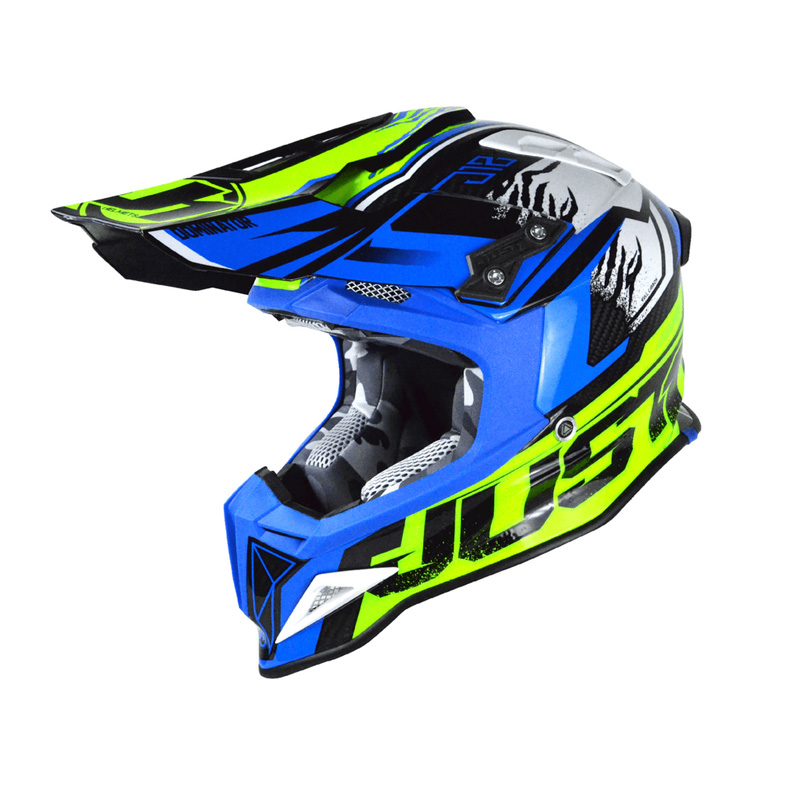 Casco Just1 J12 Dominator azul/amarillo fluor