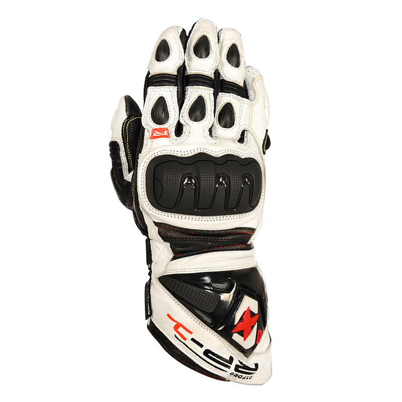 Guantes Racing de cuero Oxford RP-1 blanco/negro